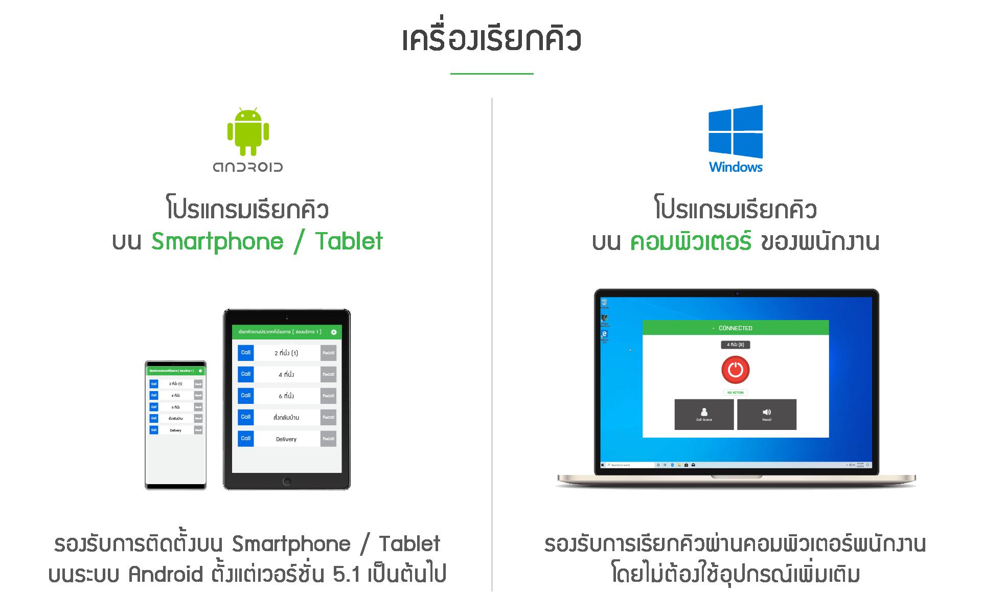 เครื่องเรียกคิว ติดตั้งได้ทั้งบนระบบ Android และ Windows